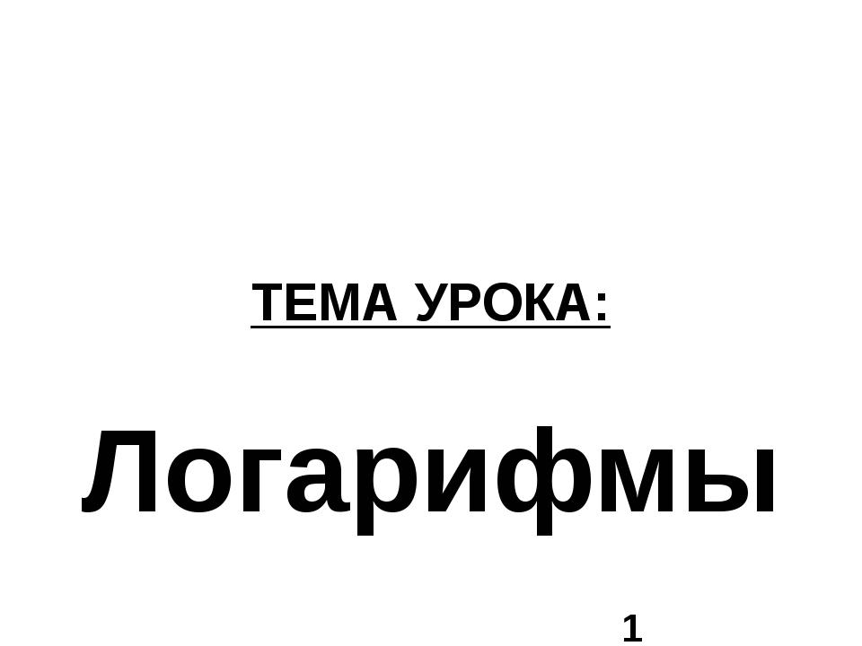 ТЕМА УРОКА: Логарифмы