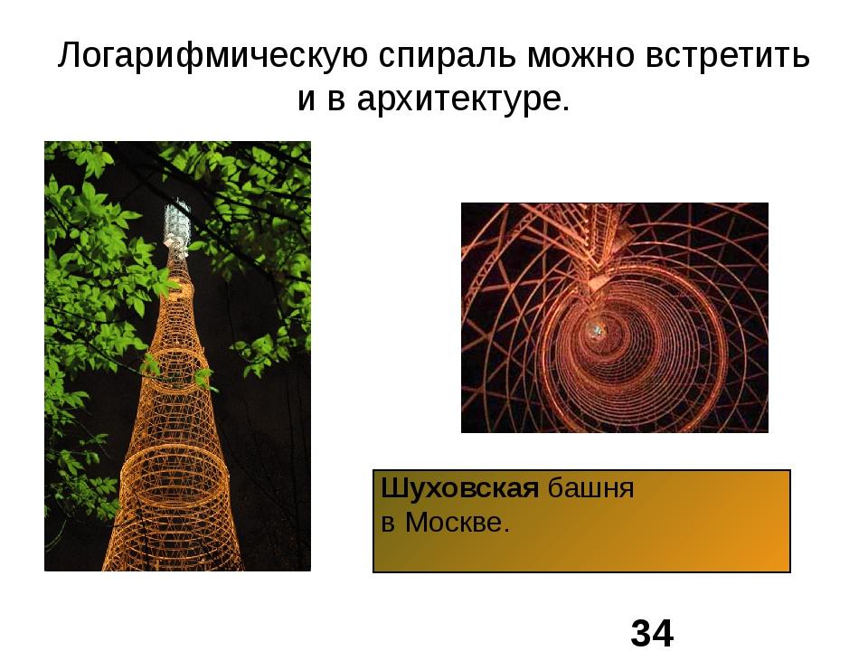 Логарифмическую спираль можно встретить и в архитектуре. Шуховская башня в Мо...