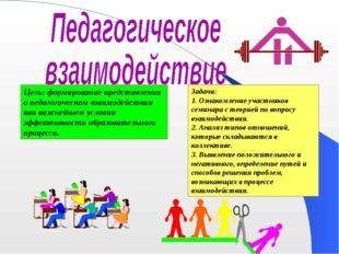 Цель: формирование представления о педагогическом взаимодействии как важнейше