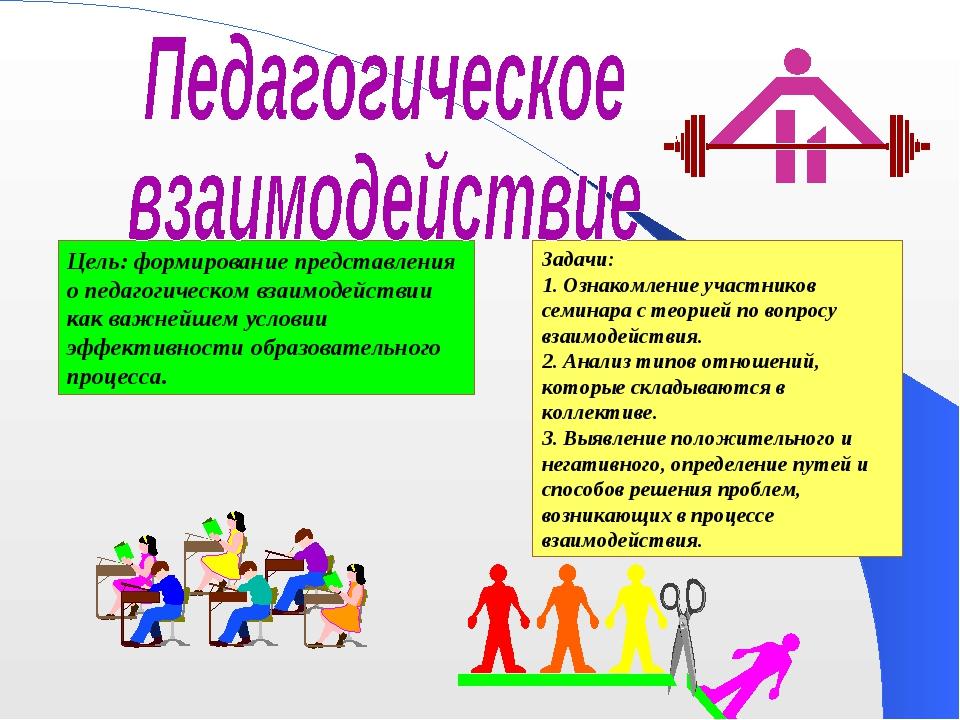 Цель: формирование представления о педагогическом взаимодействии как важнейше...