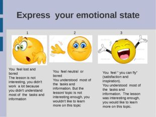 Express your emotional state 1 2 3 You feel lost and bored The lesson is not