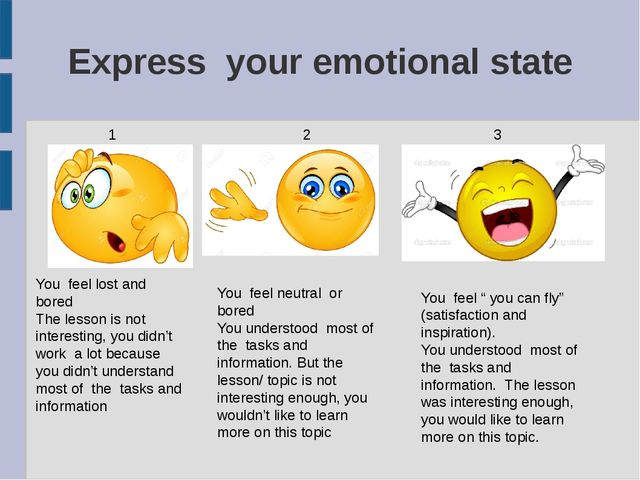 Express your emotional state 1 2 3 You feel lost and bored The lesson is not...