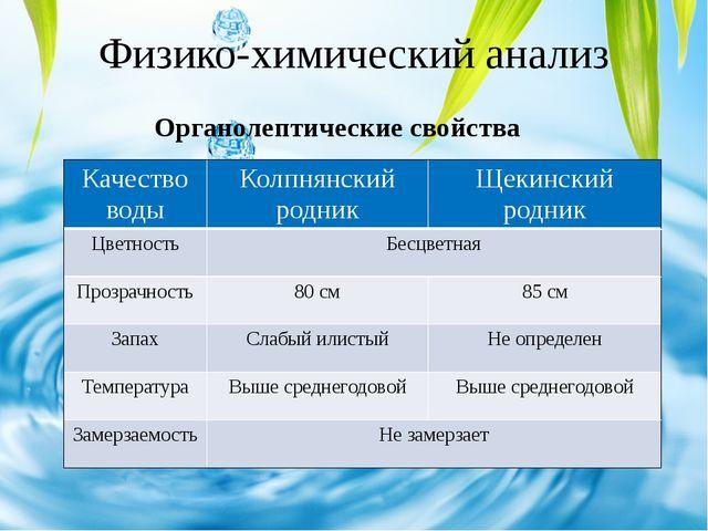Физико-химический анализ Органолептические свойства Качество воды Колпнянский...