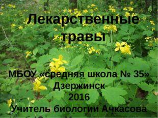 Лекарственные травы МБОУ «средняя школа № 35» Дзержинск 2016 Учитель биологии
