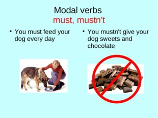 Modal verbs must, mustn't You must feed your dog every day You mustn't give y