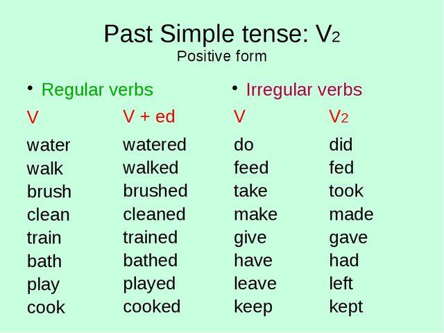 Past Simple tense: V2 Positive form Regular verbs V water walk brush clean tr...