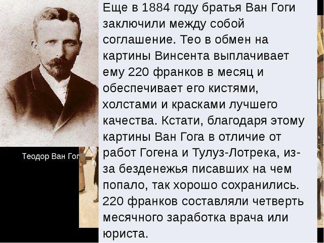 Теодор Ван Гог Еще в 1884 году братья ВанГогизаключили между собой соглашение...