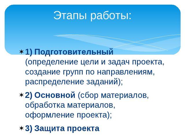 1)Подготовительный (определение цели и задач проекта, создание групп по нап...