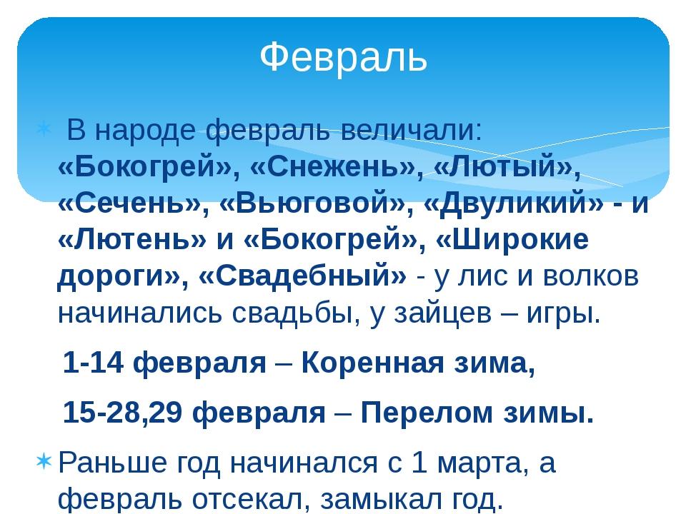 В народе февраль величали: «Бокогрей», «Снежень», «Лютый», «Сечень», «Вьюгов...