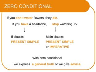 ZERO CONDITIONAL If you don't water flowers, they die. If you have a headache