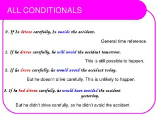 ALL CONDITIONALS 0. If he drives carefully, he avoids the accident. General t