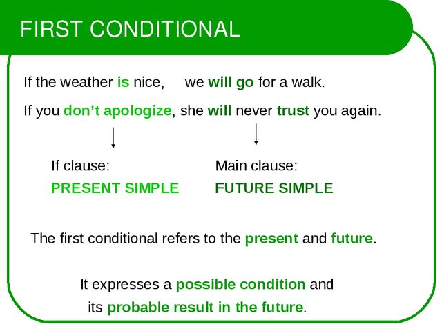 FIRST CONDITIONAL If the weather is nice, we will go for a walk. If you don't...