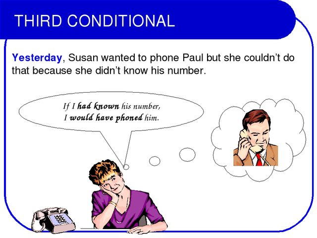 THIRD CONDITIONAL Yesterday, Susan wanted to phone Paul but she couldn't do t...