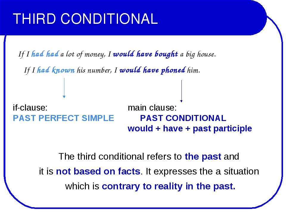 THIRD CONDITIONAL If I had had a lot of money, I would have bought a big hous...