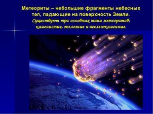 Метеориты – небольшие фрагменты небесных тел, падающие на поверхность Земли.
