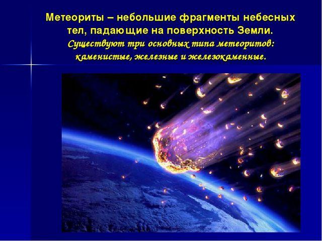 Метеориты – небольшие фрагменты небесных тел, падающие на поверхность Земли....