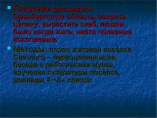 Гипотеза: расширить Оренбургскую область, освоить целину, вырастить хлеб, люд