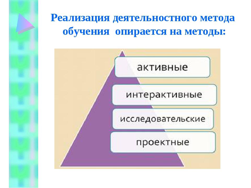 Реализация деятельностного метода обучения опирается на методы: