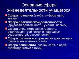 Основные сферы жизнедеятельности учащегося: Сфера познания (учеба, информация