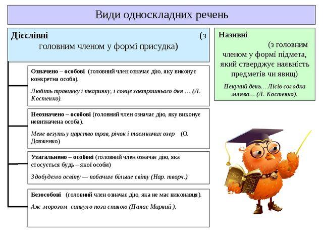 Види односкладних речень Дієслівні (з головним членом у формі присудка) Назив...