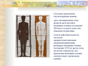 Согласно греческому скульптурному канону рост человеческого тела делится на 8