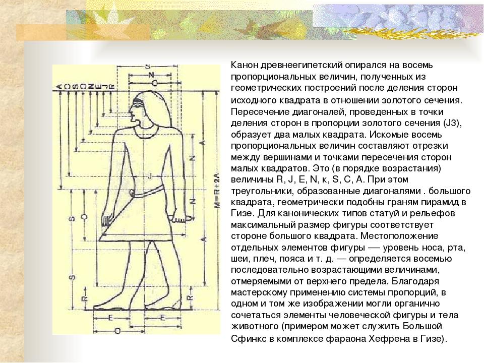Канон древнеегипетский опирался на восемь пропорциональных величин, полученны...