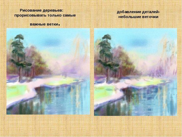 добавление деталей-небольшие веточки Рисование деревьев: прорисовывать только...