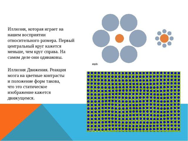 Иллюзия, которая играет на нашем восприятии относительного размера. Первый це...