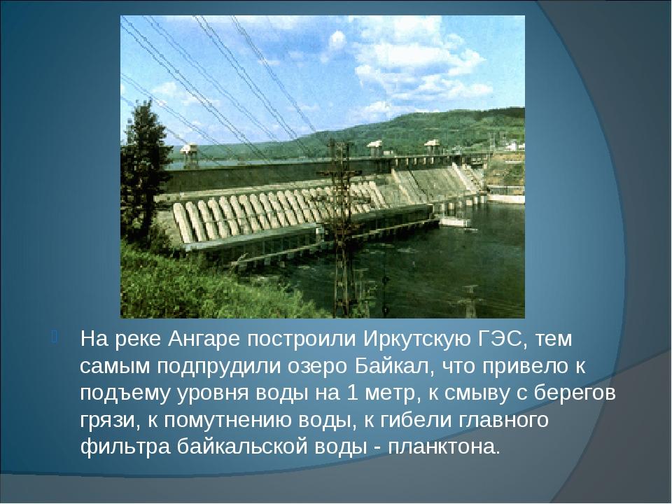На реке Ангаре построили Иркутскую ГЭС, тем самым подпрудили озеро Байкал, чт...