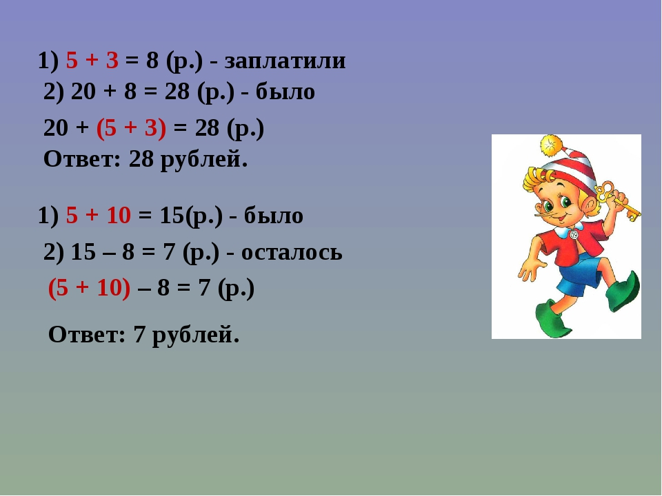 1) 5 + 3 = 8 (р.) - заплатили 2) 20 + 8 = 28 (р.) - было 20 + (5 + 3) = 28 (р...