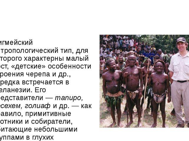 Пигмейский антропологический тип, для которого характерны малый рост, «детск...