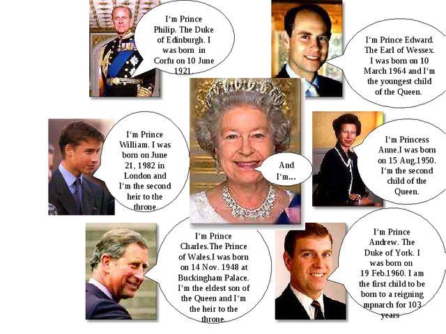 I'm Prince Philip. The Duke of Edinburgh. I was born in Corfu on 10 June 1921...