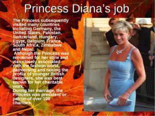 Princess Diana's job 	The Princess subsequently visited many countries includ