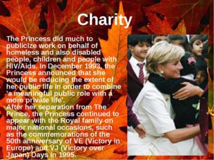 Charity The Princess did much to publicize work on behalf of homeless and als