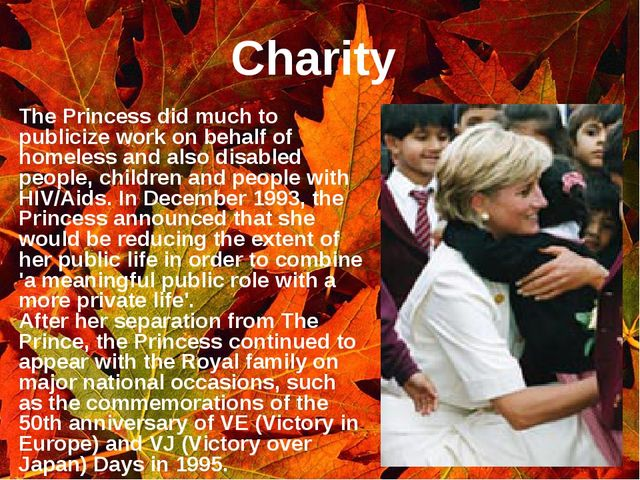Charity The Princess did much to publicize work on behalf of homeless and als...