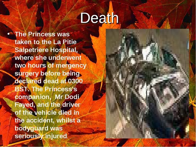 Death. The Princess was taken to the La Pitie Salpetriere Hospital, where she...