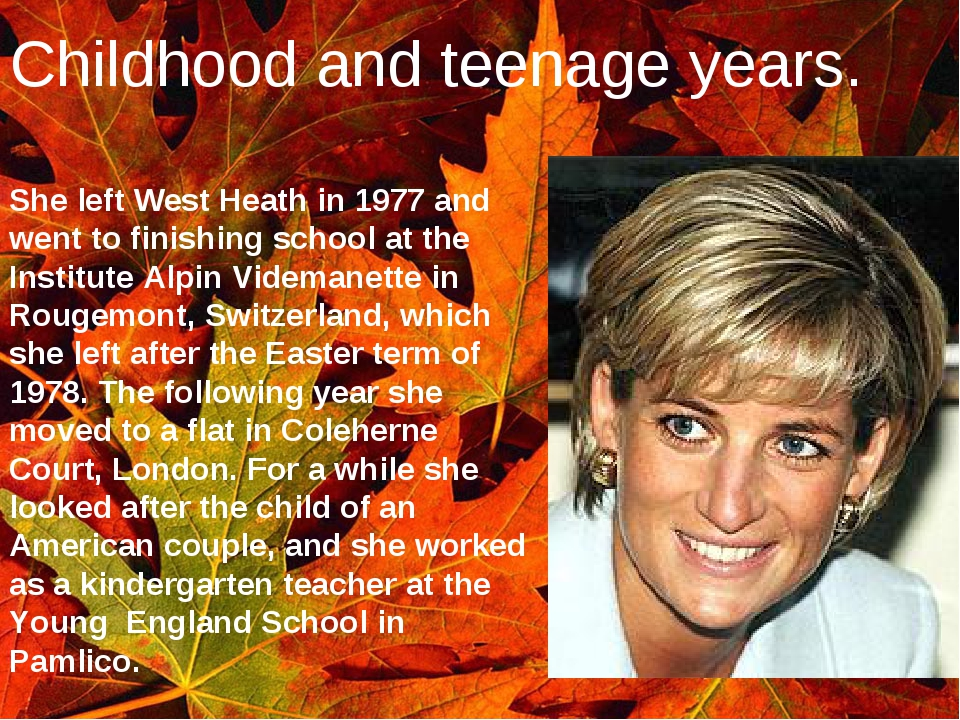 Childhood and teenage years. She left West Heath in 1977 and went to finishin...