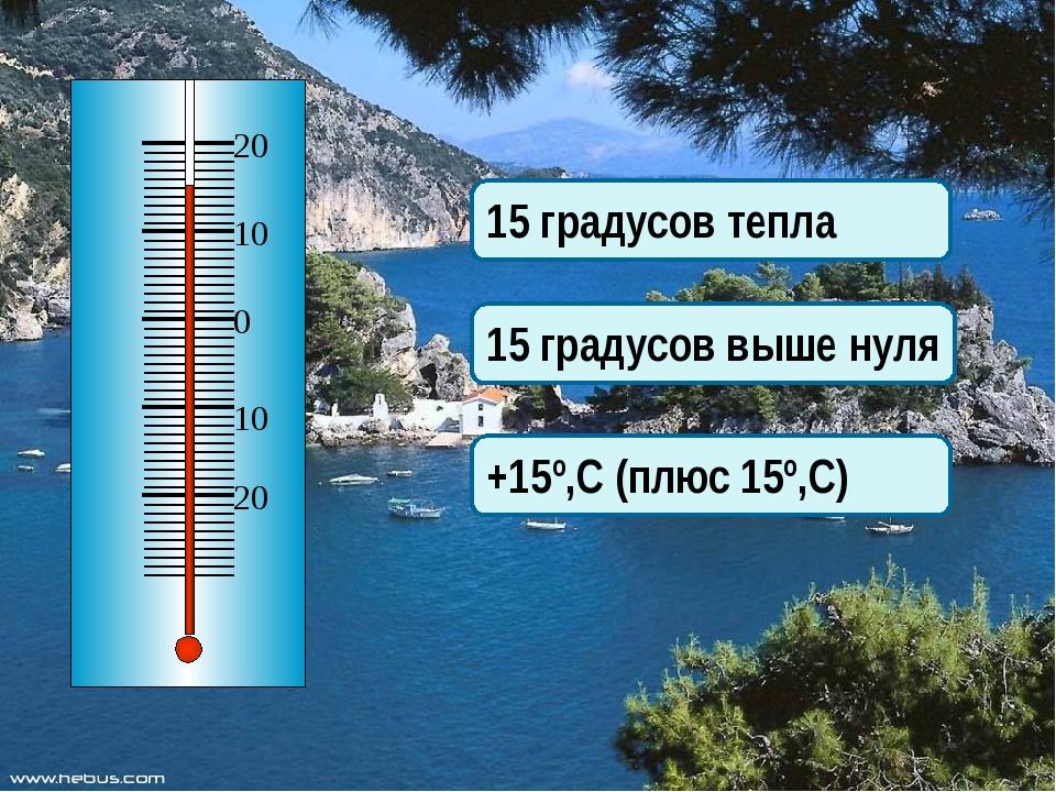 15 градусов тепла 15 градусов выше нуля +15º,С (плюс 15º,С)