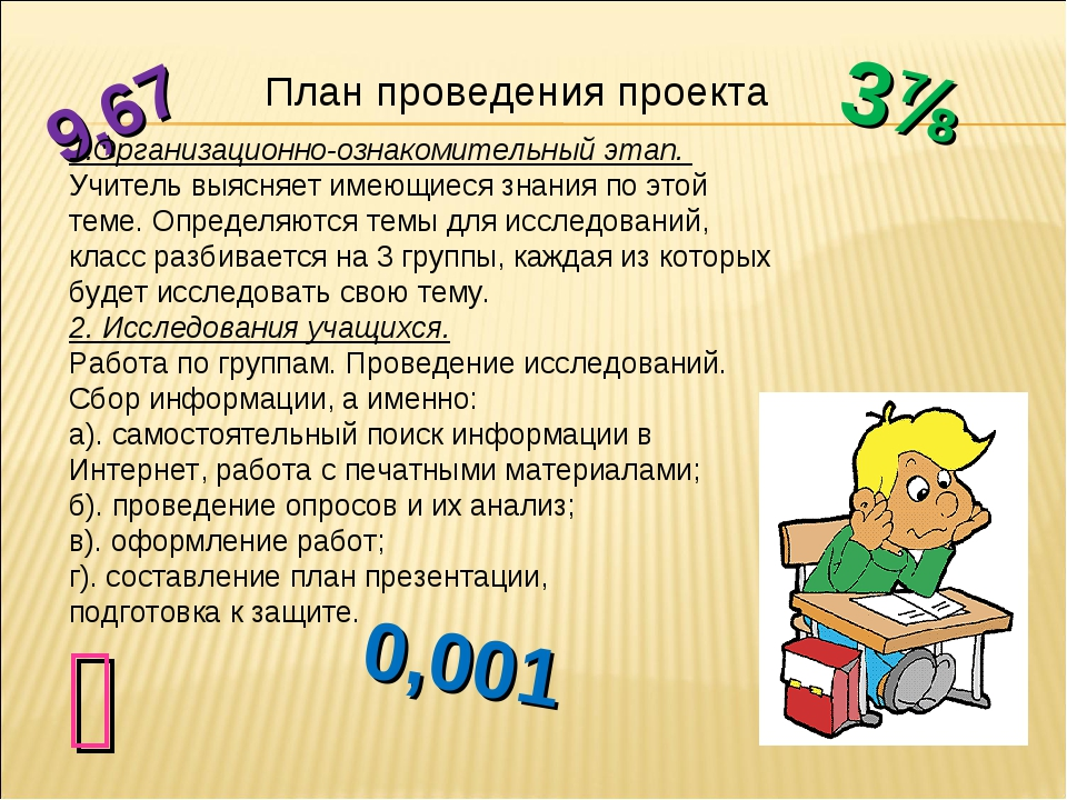 3⅞ ⅘ 9,67 0,001 План проведения проекта 1.Организационно-ознакомительный этап...