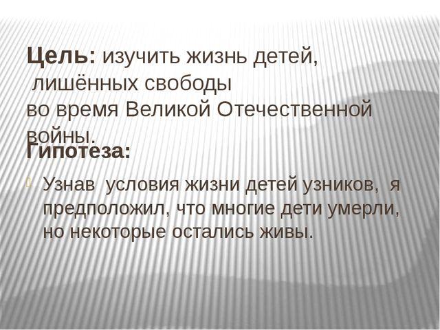 Цель: изучить жизнь детей, лишённых свободы во время Великой Отечественной в...