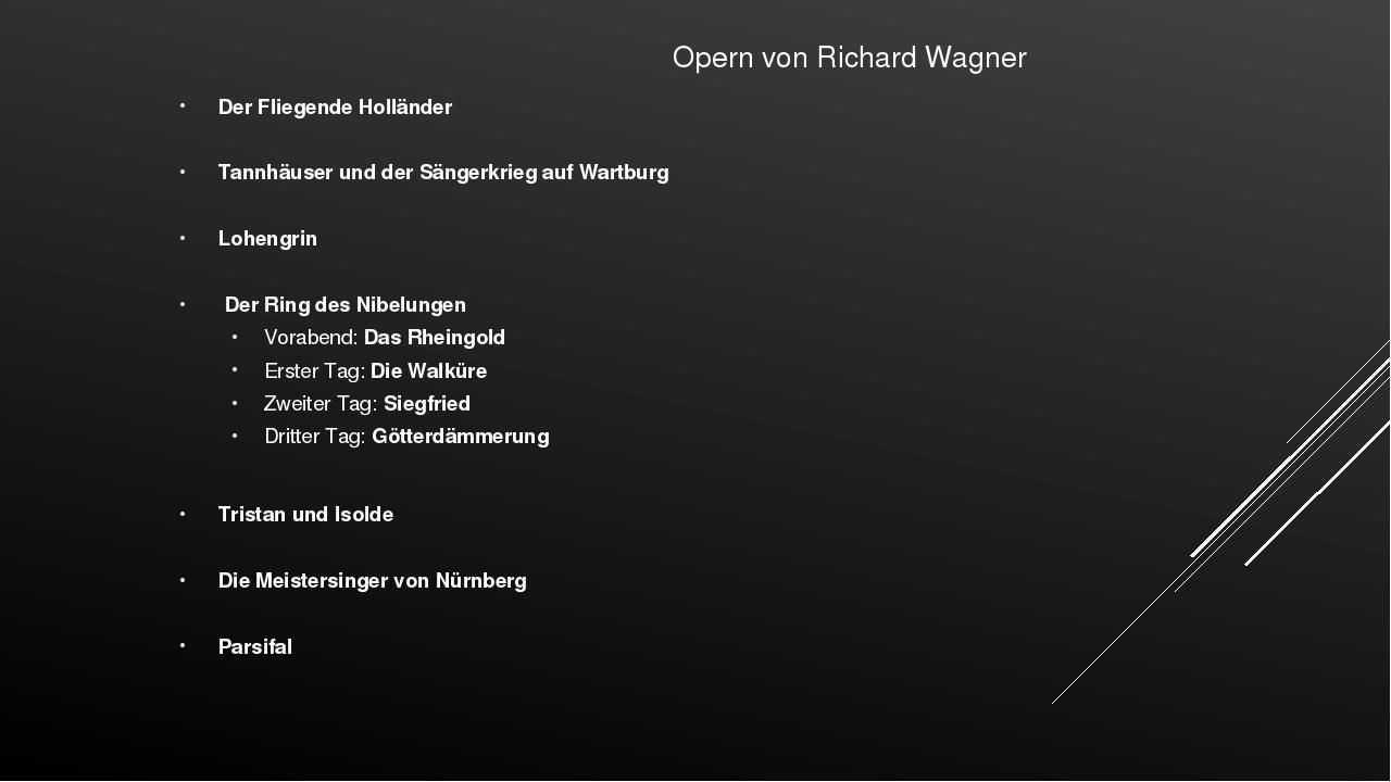 Opern von Richard Wagner Der Fliegende Holländer Tannhäuser und der Sängerkr...