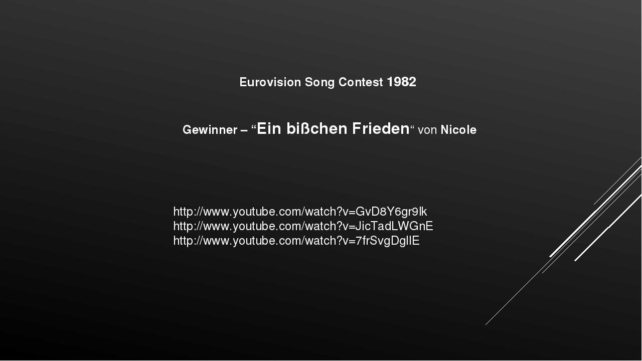 """Eurovision Song Contest 1982 Gewinner – """"Ein bißchen Frieden"""" von Nicole http..."""