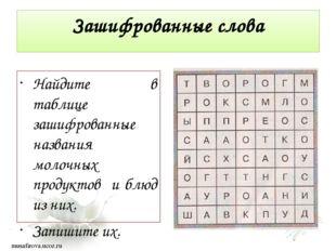 Зашифрованные слова Найдите в таблице зашифрованные названия молочных продукт