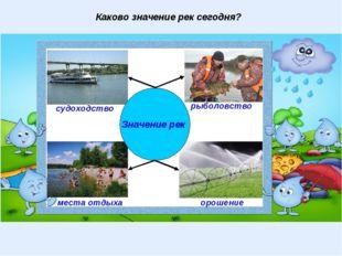 Каково значение рек сегодня? Значение рек рыболовство судоходство места отдых