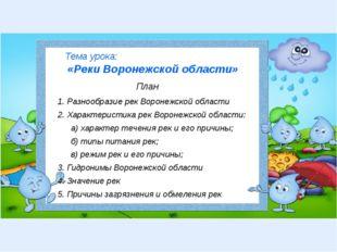 Тема урока: «Реки Воронежской области» План 1. Разнообразие рек Воронежской о