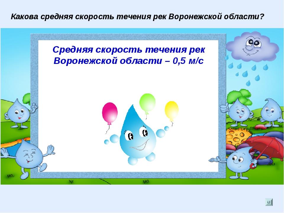 Какова средняя скорость течения рек Воронежской области? Средняя скорость теч...