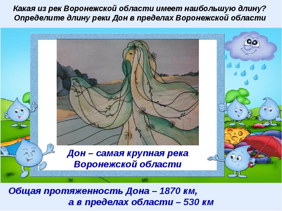 Какая из рек Воронежской области имеет наибольшую длину? Определите длину рек...