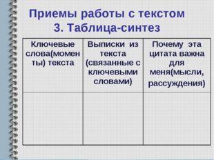 Приемы работы с текстом 3. Таблица-синтез Ключевые слова(моменты) текстаВыпи