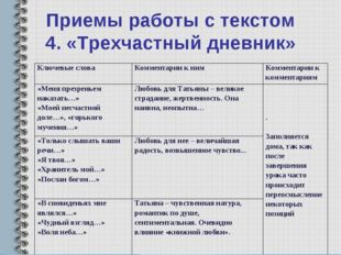 Приемы работы с текстом 4. «Трехчастный дневник» Ключевые слова Комментарии