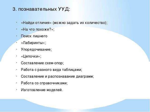 3. познавательных УУД: «Найди отличия» (можно задать их количество); «На что...